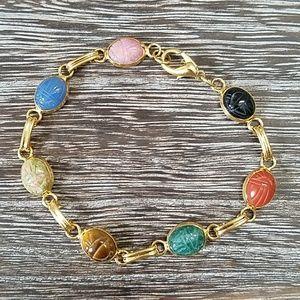 Scarab bracelet carved gemstones
